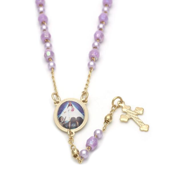 Gold Layered 09.02.0023.18 Thin Rosary, Caridad del Cobre and Cross Design, with Violet Crystal, Polished Finish, Golden Tone