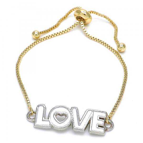 Gold Layered 03.63.1862.10 Fancy Bracelet, Love and Heart Design, White Enamel Finish, Two Tone