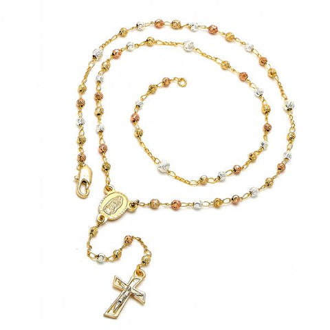 Gold Plated 09.59.0017.20 Thin Rosary, Guadalupe and Crucifix Design, Diamond Cutting Finish, Tri Tone