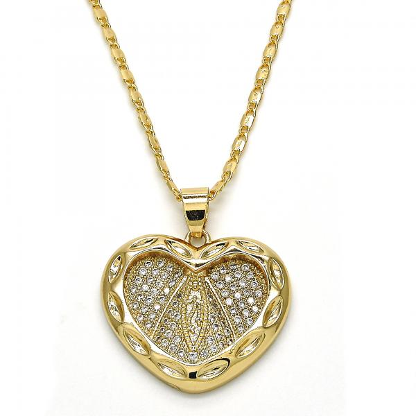 Gold Layered 04.156.0129.20 Fancy Necklace, Caridad del Cobre and Heart Design, with White Micro Pave, Polished Finish, Golden Tone