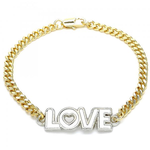 Gold Layered 03.63.1861.07 Fancy Bracelet, Love and Heart Design, White Enamel Finish, Two Tone