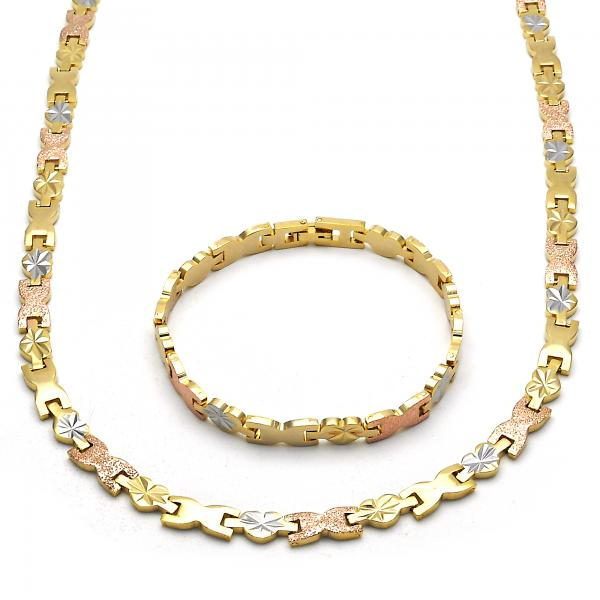 Gold Layered 06.102.0009 Necklace and Bracelet, Heart Design, Diamond Cutting Finish, Tri Tone