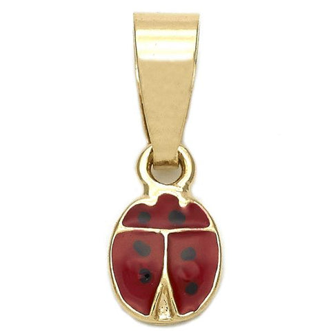 Gold Layered 05.163.0052 Fancy Pendant, Ladybug Design, Red Enamel Finish, Golden Tone