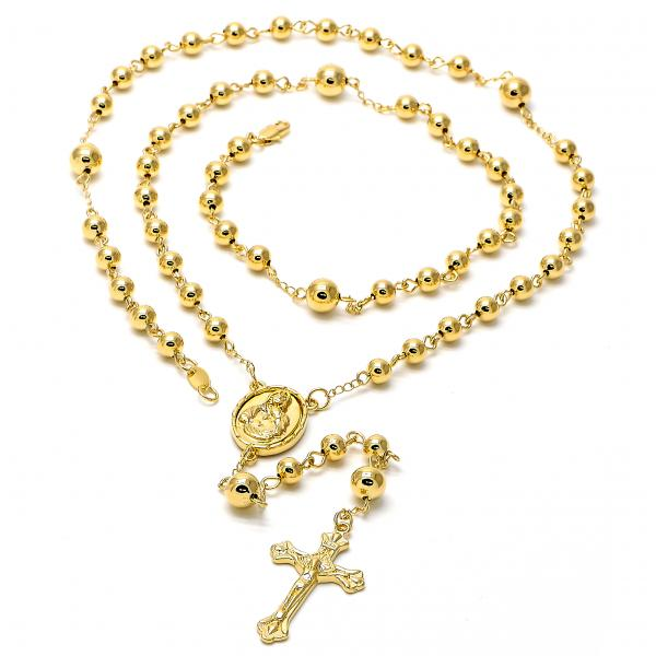 Gold Layered 5.215.002.1.30 Large Rosary, Divino Niño Design, Golden Tone