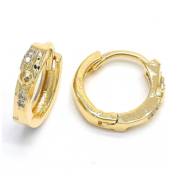 Gold Layered 02.168.0008 Huggie Hoop, with White Micro Pave, Polished Finish, Golden Tone