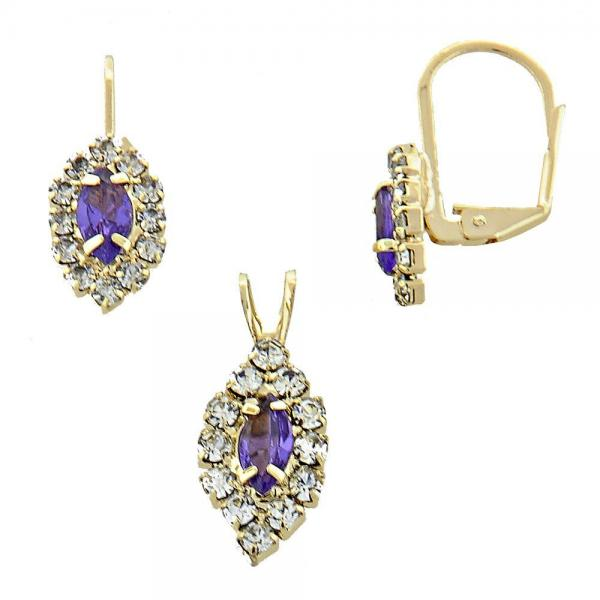 Gold Layered 5.058.015 Earring and Pendant Adult Set, with  Cubic Zirconia, Golden Tone