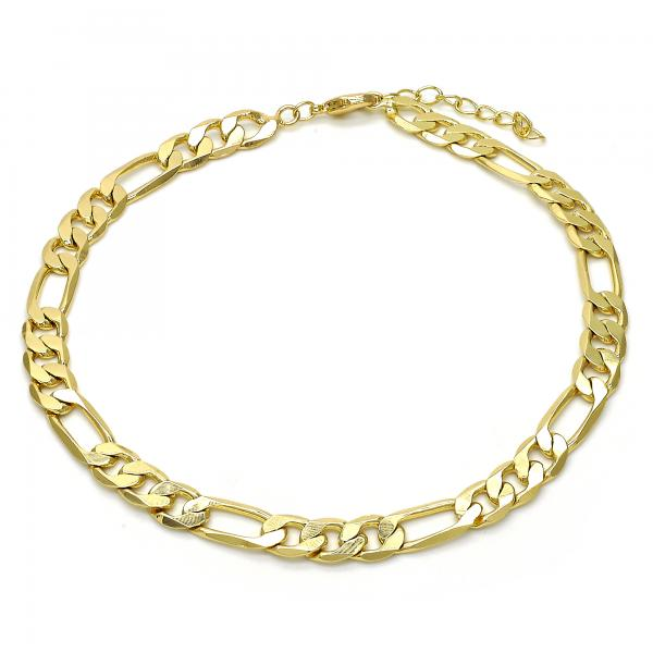 Gold Layered 04.213.0101.10 Basic Anklet, Figaro Concave Design, Polished Finish, Golden Tone