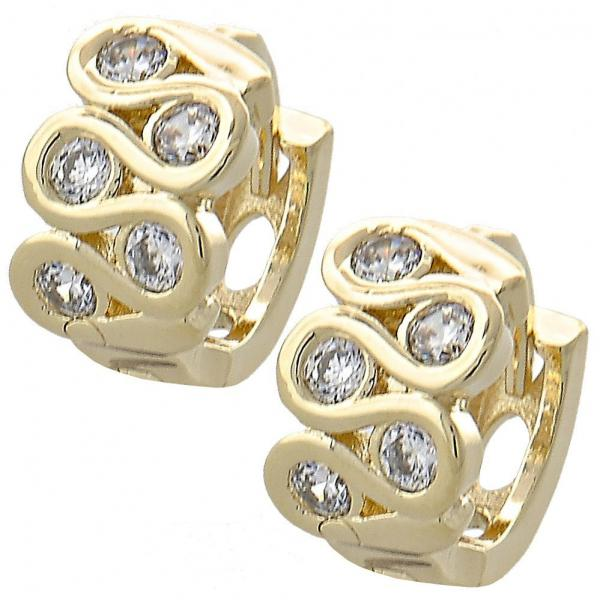 Gold Layered 02.155.0034 Huggie Hoop, with White Cubic Zirconia, Polished Finish, Golden Tone