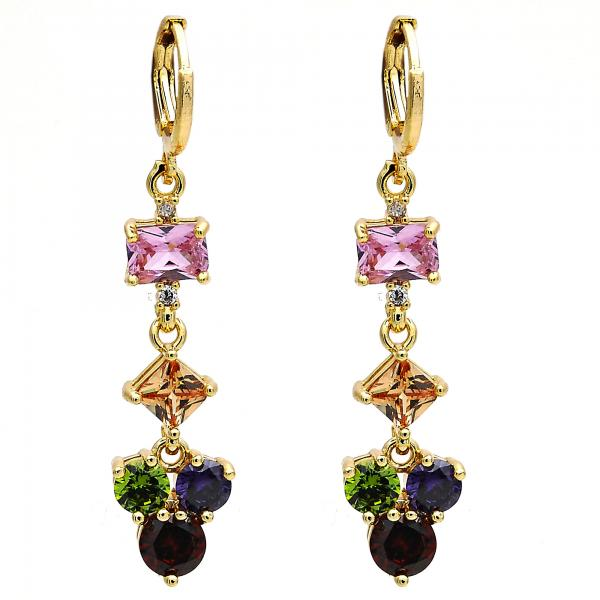 Gold Layered 02.206.0048.2 Long Earring, with Multicolor Cubic Zirconia, Polished Finish, Golden Tone