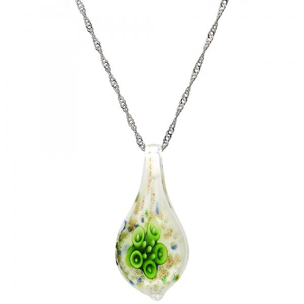 Gold Tone 04.276.0022.18.GT Fancy Necklace, Flower Design, with Green Azavache, Polished Finish, Rhodium Tone