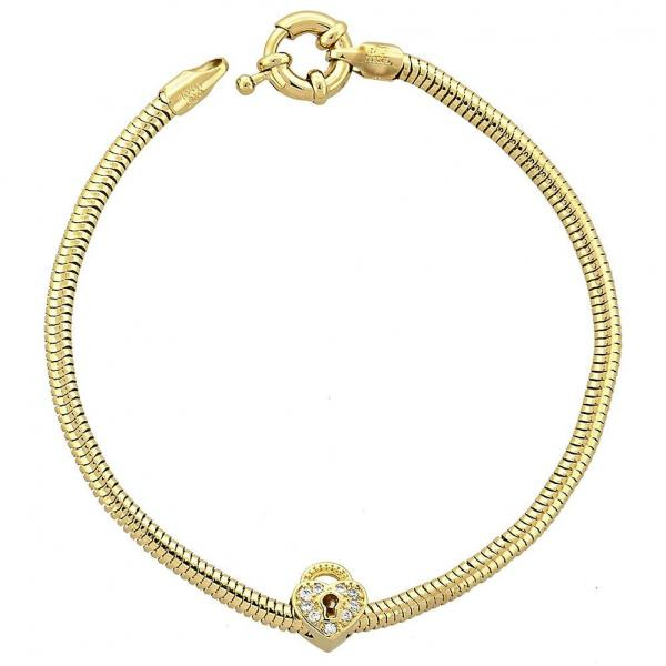 Gold Layered 03.63.0201 Charm Bracelet, Rat Tail and Lock Design, with White Crystal, Polished Finish, Golden Tone