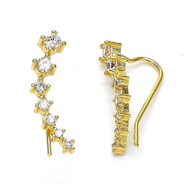 Gold Layered 02.156.0180 Leverback Earring, with White Cubic Zirconia, Polished Finish, Golden Tone