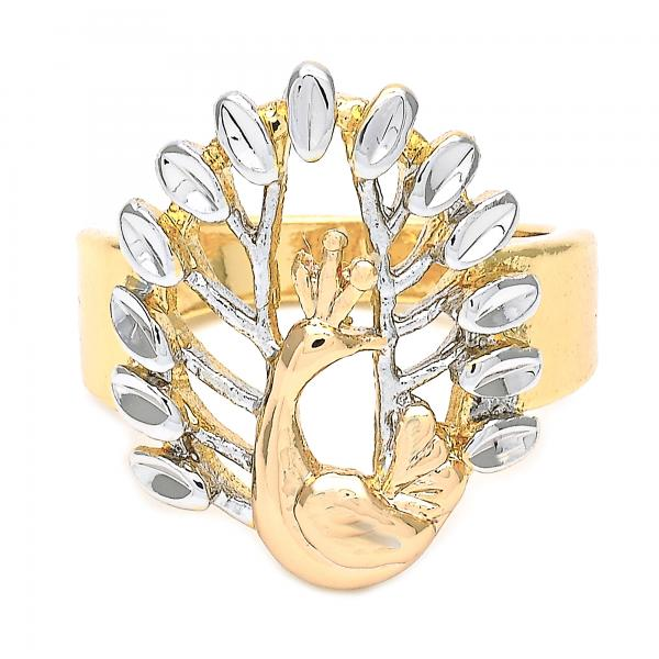 Gold Layered Elegant Ring, Peacock Design, Tri Tone