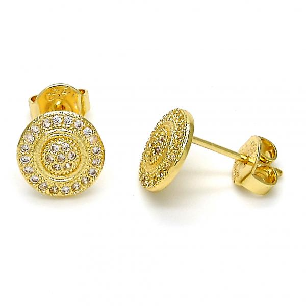 Gold Layered 02.156.0097 Stud Earring, with White Micro Pave, Polished Finish, Golden Tone