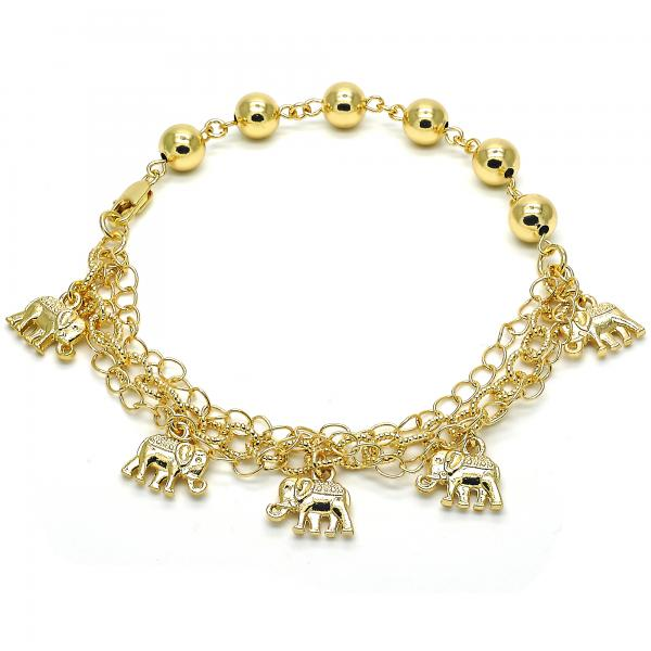 Gold Layered 03.179.0045.10 Charm Anklet , Elephant Design, Polished Finish, Golden Tone