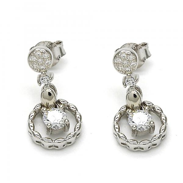 Sterling Silver 02.175.0133 Dangle Earring, with White Cubic Zirconia, Polished Finish, Rhodium Tone