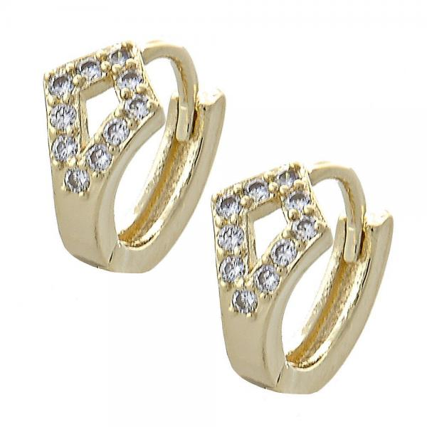 Gold Layered 02.155.0041 Huggie Hoop, with White Cubic Zirconia, Polished Finish, Golden Tone