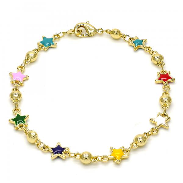 Gold Tone 03.213.0014.08.GT Fancy Bracelet, Star Design, Multicolor Enamel Finish, Golden Tone