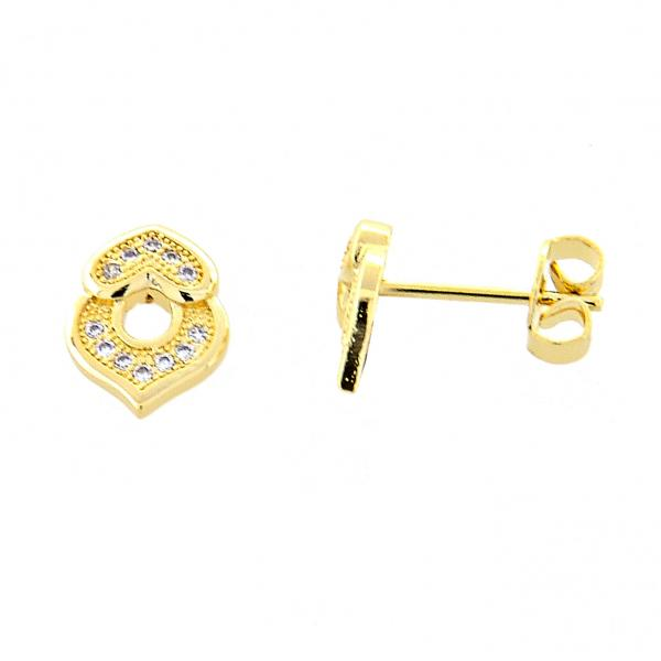 Gold Layered 02.195.0021 Stud Earring, Heart Design, with  Micro Pave, Polished Finish, Golden Tone