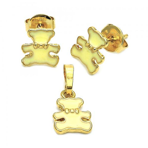 Gold Layered 10.64.0016 Earring and Pendant Children Set, Teddy Bear Design, Enamel Finish, Golden Tone