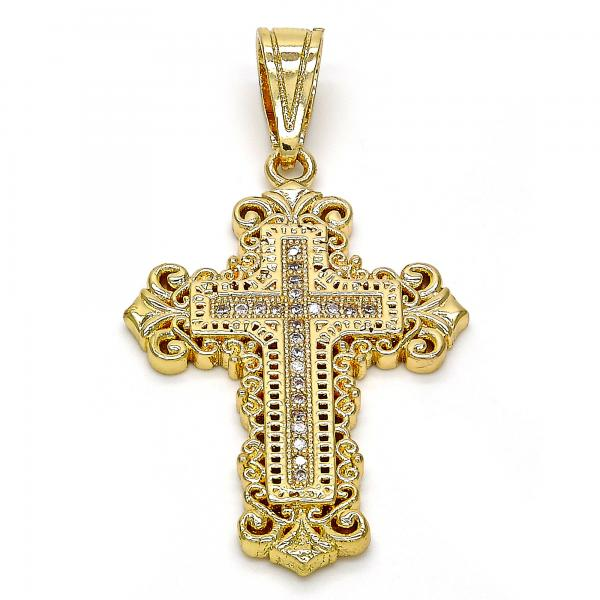 Gold Layered 05.120.0046 Religious Pendant, Cross Design, with White Micro Pave, Polished Finish, Golden Tone