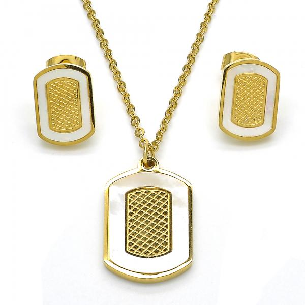 Stainless Steel 10.110.0038 Earring and Pendant Adult Set, with White Mother of Pearl, Polished Finish, Golden Tone