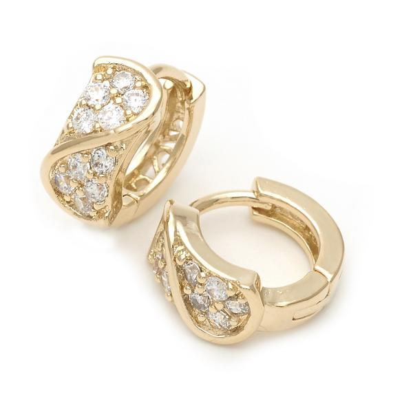 Gold Layered 5.130.003 Huggie Hoop, with White Cubic Zirconia, Polished Finish, Golden Tone