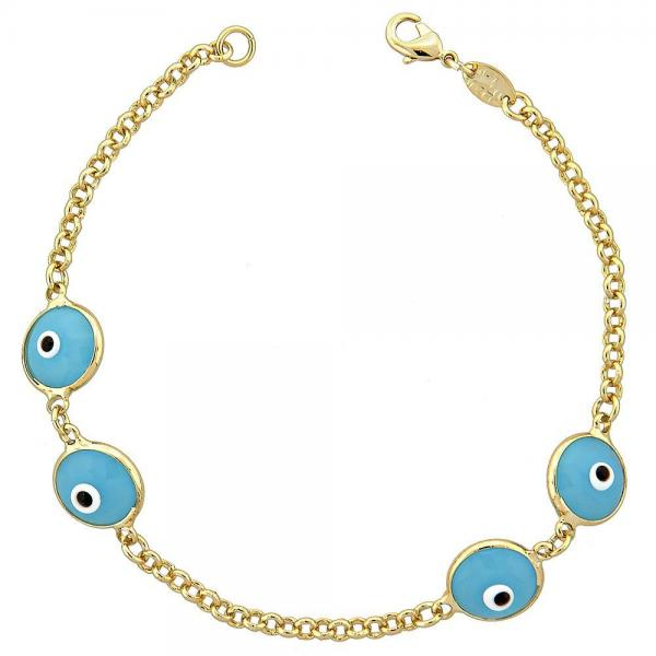 Gold Layered 5.039.003 Fancy Bracelet, Greek Eye Design, with Aqua Blue Opal, Polished Finish, Golden Tone