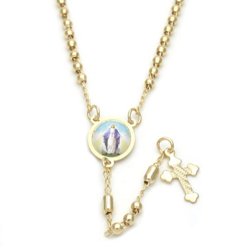 Gold Layered 09.02.0021.18 Thin Rosary, Medalla Milagrosa and Cross Design, Polished Finish, Golden Tone