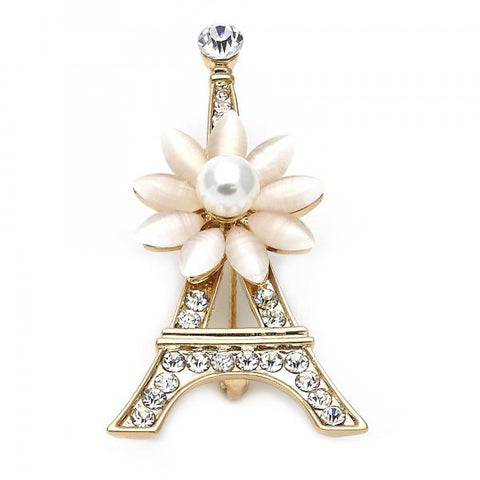 Gold Layered 13.181.0028 Basic Brooche, Eiffel Tower and Flower Design, with Rose Opal and White Crystal, Polished Finish, Golden Tone