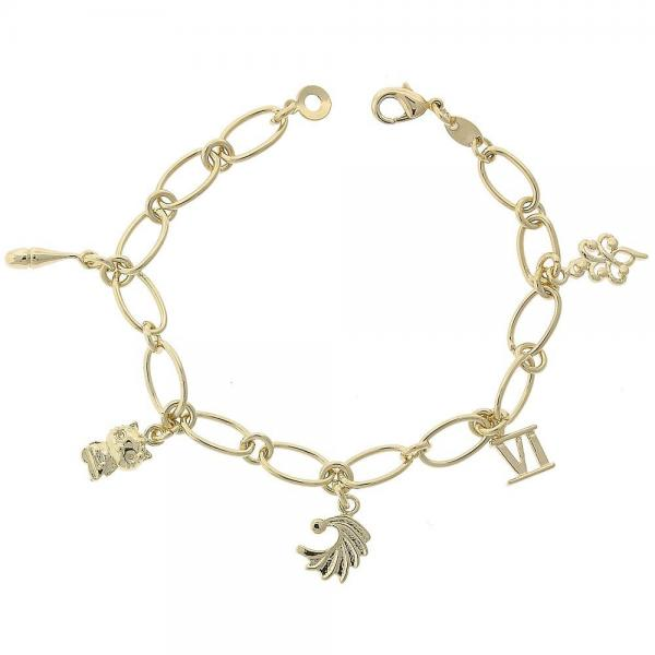 Gold Layered 5.020.009.1 Charm Bracelet, Cat and Flower Design, Polished Finish, Golden Tone