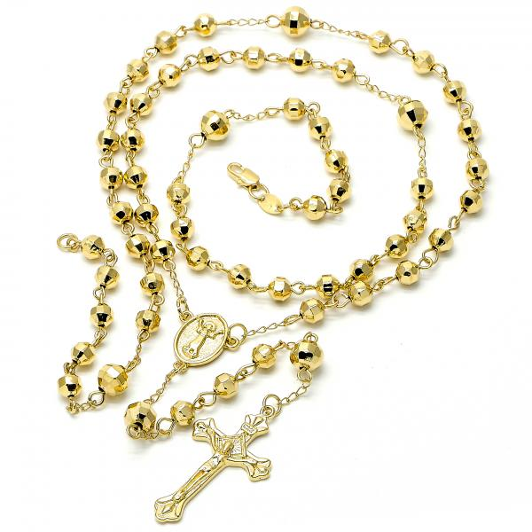 Gold Layered 5.210.003.28 Large Rosary, Divino Niño and Crucifix Design, Diamond Cutting Finish, Golden Tone