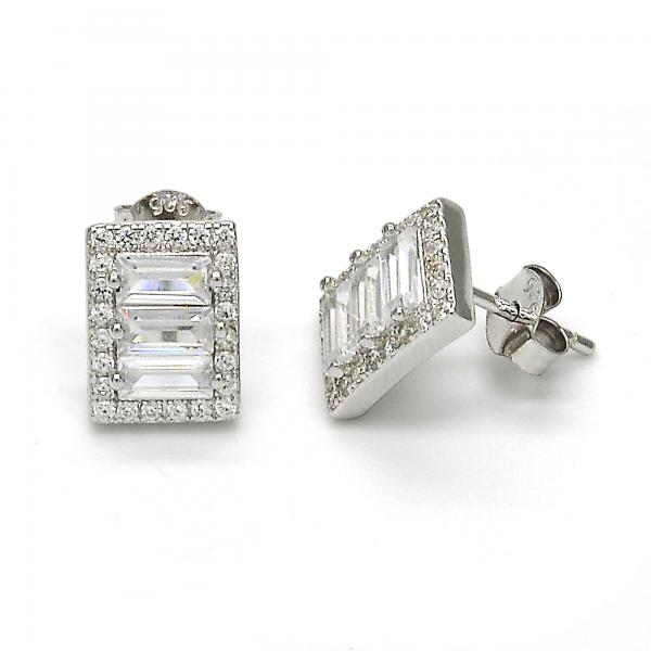 Sterling Silver 02.175.0115 Stud Earring, with White Cubic Zirconia, Polished Finish, Rhodium Tone
