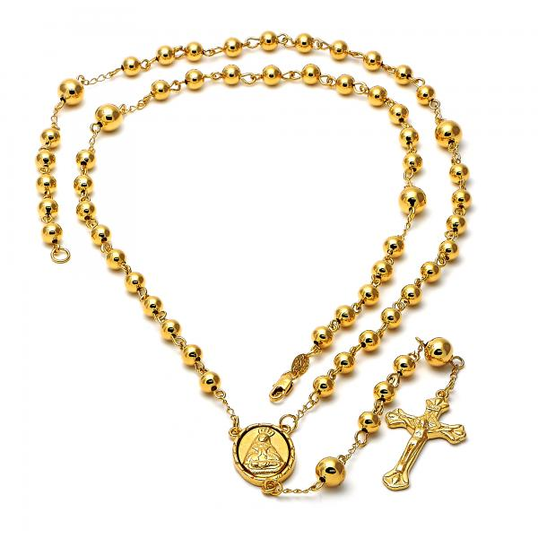 Gold Layered 5.215.003.1.30 Large Rosary, Crucifix and Altagracia Design, Polished Finish, Golden Tone