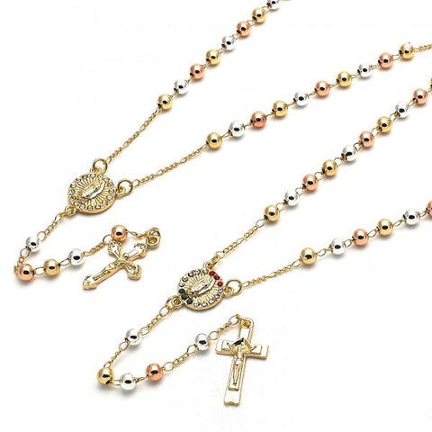 Gold Layered Thin Rosary, Guadalupe and Crucifix Design, with Crystal, Tri Tone