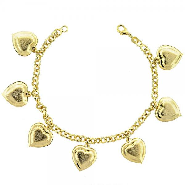 Gold Layered 031.004.07 Charm Bracelet, Heart and Rolo Design, Matte Finish, Golden Tone