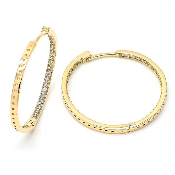 Gold Layered 02.156.0153 Medium Hoop, with White Micro Pave, Polished Finish, Gold Tone