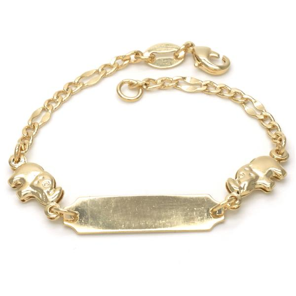 Gold Layered 03.32.0099.05 ID Bracelet, Elephant and Figaro Design, Polished Finish, Golden Tone