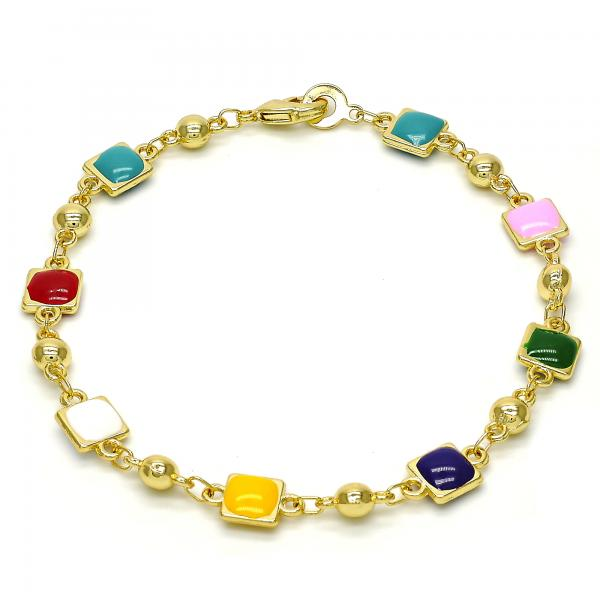 Gold Tone 03.213.0016.08.GT Fancy Bracelet, Multicolor Enamel Finish, Golden Tone