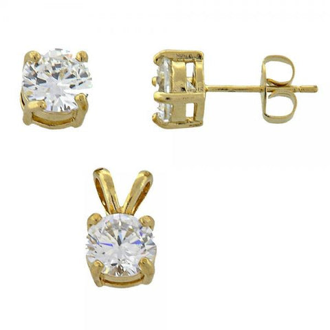 Gold Layered 10.63.0099 Earring and Pendant Adult Set, with  Cubic Zirconia, Golden Tone