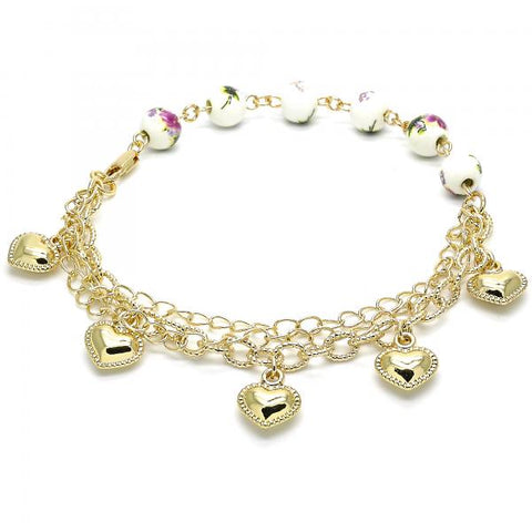 Gold Layered 03.179.0061.10 Charm Anklet , Heart and Flower Design, Polished Finish, Golden Tone