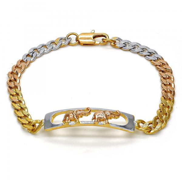 Gold Layered 03.102.0028.08 ID Bracelet, Elephant Design, Polished Finish, Tri Tone