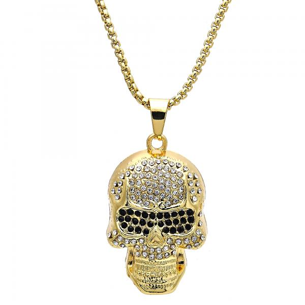 Gold Layered 04.242.0076.30 Fancy Necklace, Skull Design, with White and Black Crystal, Polished Finish, Golden Tone