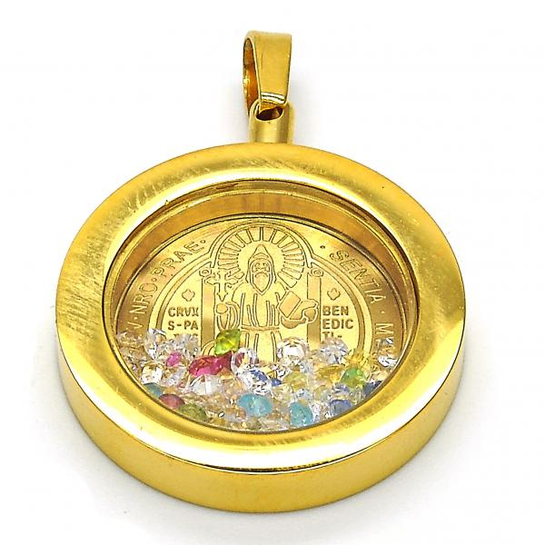 Stainless Steel 05.300.0007 Religious Pendant, San Benito Design, with Multicolor Crystal, Polished Finish, Golden Tone