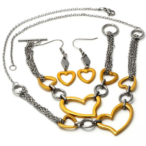 Stainless Steel 06.231.0027 Necklace, Bracelet and Earring, Heart Design, Polished Finish, Two Tone