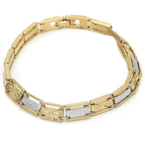 Gold Layered 03.63.1772.08 Solid Bracelet, Diamond Cutting Finish, Two Tone