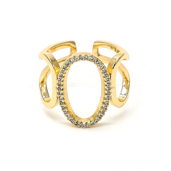 Gold Layered 01.166.0018 Multi Stone Ring, with White Micro Pave, Polished Finish, Golden Tone (One size fits all)