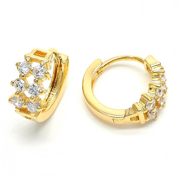 Gold Layered 02.156.0145 Huggie Hoop, with White Cubic Zirconia, Polished Finish, Golden Tone