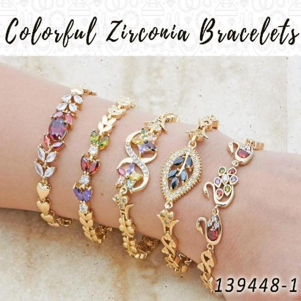 15 Colorful Zirconia Bracelets in Gold Layered ($6.67) ea