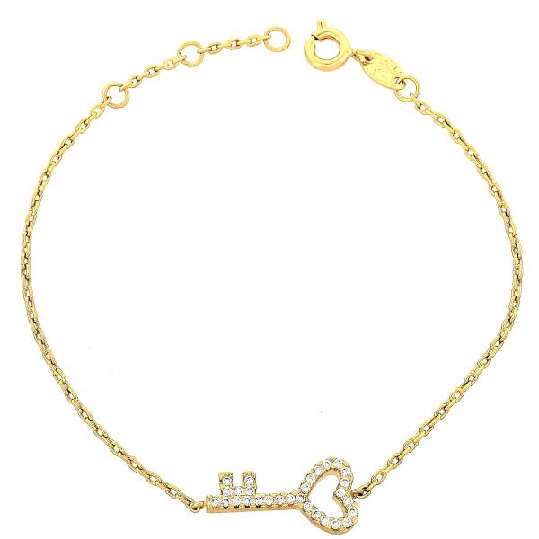Gold Layered 03.91.0022 Fancy Bracelet, Greek Key and Rolo Design, with White Micro Pave, Polished Finish, Golden Tone
